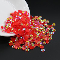 Wholesale Acrylic Heart Nail Art - DIY Nail Art Acrylic Resin Rhinestone Jelly Siam AB Resin Flatback Rhinestone All Size 3mm,4mm,5mm,6mm