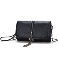 Wholesale Young Metal - Fashion Metal tassels Flap Bags Ladies shoulder bag PU material Chain bag Young women Clutch bags For Spring and Autumn