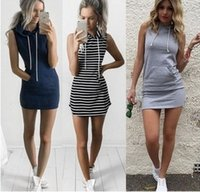 Wholesale shirts woman strapless - Fashion Women Sexy Summer Bandage Bodycon Evening Party Cocktail Casual Short Mini Dress Womens Clothing Stripe Hooded Sleeveless Slim Dress