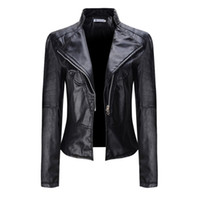 Wholesale Women Short Leather Jackets Wholesale - Wholesale- Autumn Women Fashion Outwear Coats Long Sleeve Solid Coats Motorcycle Zipper Jacket Soft Leather Short Biker Coat
