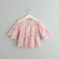 Wholesale Tee Shirt Jumper Lace - 2017 Baby Girls Crochet Lace T-shirts Kids Girls Princess Hallow Out Tees Girl Spring Jumper Floral Shirts children's clothing