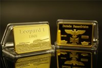 Wholesale Leopard Gift Boxes - 24kt Gold Plated Metal Bar 1 Oz 1965 Leopard I Deutsche Panzer Division Bar Free Black Display for Home Collection