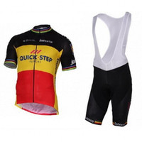 Wholesale Cycling Jersey Set Quick Step - 2017 quick step Belgium champion jersey breathable cycling jersey set Short sleeve summer quick dry cloth MTB Ropa Ciclismo