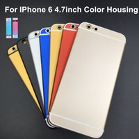 Wholesale Iphone Middle Black - Full Housing Back Battery Cover Middle Frame Metal For iPhone 6 4.7 Black Red with logo Replacement Part Free Shipping
