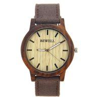 venta de madera natural al por mayor-2017 Venta caliente Reloj de pulsera de hombre de BEWELL Hombres Reloj de lona de cuarzo de madera con brazalete Relojes de madera natural 134A