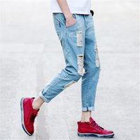 Wholesale Men Low Waist Jeans - Wholesale-Men Ripped Jeans Low Waist Motorcycle Slim Fit Washed Straight Hole Denim Pants Boyfriend Jeans Joggers for Skinny Men Teenagers