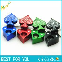Wholesale Poker Key - New style metal pipe Poker Peach heart pipe key chain portable smoking pipe aluminum alloy pipe