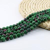perles rondes de rubis achat en gros de-Perles rondes en pierre naturelle Epidote Ruby Zoisite semi-précieuse, 6/8 / 10mm Brin complet 15 '' L0122 #
