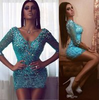 Wholesale Fit Petite Women - 2017 Sexy Rhinestones Cocktail Dresses with 3 4 Sleeve Sparkly V Neck Fitted Women Crystal Mini graduation Party Dress