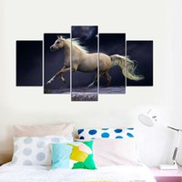 Wholesale Traditional Oil Paintings For Sale - 5 Pcs Sets of White Horse Running Oil Paintings Animal Print Canvas Pictures for Home Decoration HOT Sale No Frame