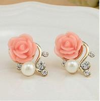Wholesale Pink Korean Earring - Korean Fashion Jewelry Exaggerated Earrings New Style Korean Women Ol Pink Rose Imitation Pearl Crystal Earrings Wholesale