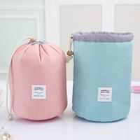 Wholesale Wholesale Drum Kits - Fashion Barrel Shaped Travel Cosmetic Bag Make up Bag Drawstring Elegant Drum Wash Kit Bags Makeup Organizer Storage Bag