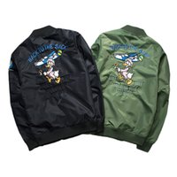 New Street Fashion Men Bombardeiro MA1 Jackie Embroidery Badge Imagem dos desenhos animados Anarchy Coat Black Army green