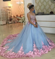 Wholesale Lavender Flower Girl Baby Dresses - Baby Blue 3D Floral Masquerade Ball Gowns 2017 Luxury Cathedral Train Flowers Quinceanera Dresses Prom Gowns Sweety Girls 16 Years Dress