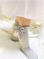 ingrosso baby uk-Girls Socks UK new Baby ribbon Bow Sock Alta 3/4 Knee Kids Socks fit 2-4T primavera autunno gambe baby Girls dolce principessa sotcking T1045