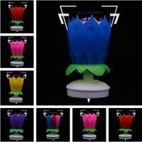 ingrosso candele sboccianti-New Double-deck rotazione petalo compleanno candela torta Fiore candela Blossom candela musicale Originalità forniture compleanno IA654