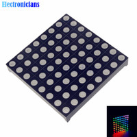 Wholesale 8x8 Led Dot Matrix Display - 5pcs lot Full Color 8x8 8*8 Mini Dot Matrix LED Display Red Green Bule RGB Common Anode Digital Tube 60mmx60mm for Diy