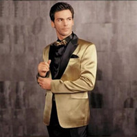 Wholesale Khaki Pants Gold Bows - Gold and Black Jacket Groom Tuxedos Groomsmen 2017 Wedding Clothing Custom Made Suits for Men Mens Formal Wear (Jacket+Pants+Bow Tie) EW7106