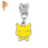 BELAWANG Lovely Cute Yellow Cat Charm Beads Silver Plated Pendant Beads Fit Charm BraceletsNecklaces DIY Jewelry Making Free Shipping