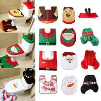 Wholesale Bathroom Rugs Toilet Covers - 7 Style Happy Santa Toilet Seat Cover Rug Bathroom Set Decoration Christmas Xmas Navidad Decor YYA716