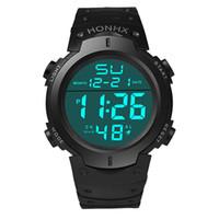 Wholesale Digital Watch Blue Lcd - HONHX Mens LCD Digital Watches Men Boys Life Waterproof Rubber Sport Stopwatch Date Clock Wrist Watch Male Hours Relogio #JO