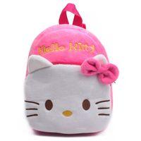 mochila para crianças hello kitty venda por atacado-Venda por atacado - Adorável Olá Kitty bebê estudante saco crianças mochila embalagem brinquedo e doces macio saco de pelúcia para 0-3years crianças Satchel mochila