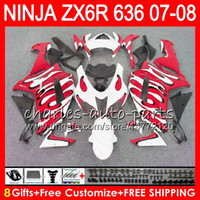 Wholesale Red White Zx6r Fairing - 8Gifts 23Colors Bodywork For KAWASAKI NINJA ZX-636 ZX-6R 07-08 600CC red white 26NO107 ZX 636 ZX 6R 2007 2008 ZX636 ZX6R 07 08 Fairing kit