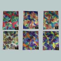 Wholesale Designed Gele - watercolour design head ties nigerian sego gele&Ipele wrapper,African Head Scarf multicolored 2 pcs pack LXLH1-6