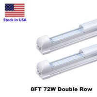 Wholesale Wholesale T8 Fluorescent Light Fixtures - 8' T8 FA8 LED Tubes V Shape 8ft Integrated LED Light 8 ft Work Light 45W 72W 96'' Double Row Fluorescent Light Fixtures