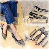 Wholesale hook loop dots - Koovan Fashion Women Shoes 2017 New Summer Pointed Toe Flat Platform Lace Ladies Shoes Breathable Mesh Cloth Students Ladies Shoes W044
