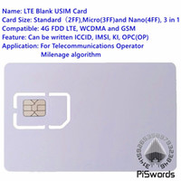 Wholesale Blank Sim - Wholesale- Piswords SIM USIM Card 4G LTE WCDMA GSM Blank Mini Nano micro writable programable SIM Card For Operator Milenage algorithm