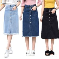 Wholesale Denim Sexy Women Skirt - Sexy Fashion Straight Woman Denim Skirt Mid-calf Length Jeans Hight Waist Three Colors Solid Micro Elastic with Belt Button Tassel