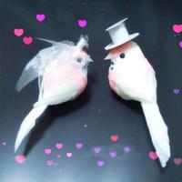 decorações de casamento adoram pássaros venda por atacado-12 PCS, Decorativo Rosa Pássaro Do Amor Pena De Espuma Artificial Mini Pássaros Com Clip, Artesanato DIY Para O Ornamento Do Natal, Decoração Do Casamento