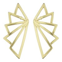 Wholesale Wing Shaped Earrings - Punk Rock Golden Wing Shape Big Stud Earrings