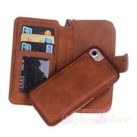 Wholesale Pu Pocket Mirror - Portable Magnetic Detachable Pouch Purse Card Wallet Bag TPU inner BRG Mirror For iPhone 6 7 plus Samsung Galaxy S7 edge