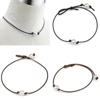 Wholesale Pearl Knotted Necklace Wholesalers - Simple and Elegant High Luster Pearls Leather Choker Necklaces Women's Punk Style Hand Knotted Fashion Jewelry