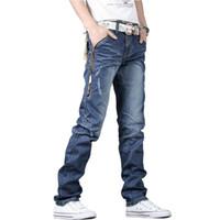 Wholesale Mens Denim Trouser 34 - Wholesale-Hot sale men jeans pants straight skiny mens trousers leisure casual denim pants 28-34