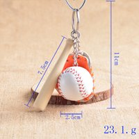 Wholesale 24k gold plated coins - Mixed Colors Baseball Gloves Wooden Bat Keychains 3 Inch Pack Of 12 Key Chain Ring Cartoon Keychain Best Christmas Gift