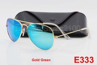 Wholesale Multi Lens Sun - 5pcs High Quality Mens Womens Designer Pilot Sunglasses Sun Glasses Gold Flash Green Mirror Glass Lenses 58mm 62mm UV Protection Box Cases