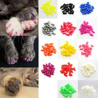 Wholesale Glue Caps - 100Pcs Lot Colorful Soft Pet Cats Kitten Paw Claws Control Nail Caps Cover Size XS-XXL With Adhesive Glue