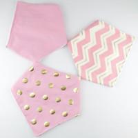 Wholesale Wholesale Baby Chevron Scarves - Wholesale- 2016 New 3pcs set Pink Golden Chevron Polka Dots 100% Cotton Bandana Baby Bibs Baby Girls Boys Infant Saliva Towels Scarf Bib