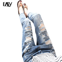 Wholesale Bleach Girls Sexy - Wholesale- Fashion Casual Women Brand Vintage Mid Waist Skinny Denim Jeans Slim Ripped Loose Jeans Hole Pants Female Sexy Girls Trousers
