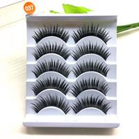 Wholesale Eye Lash False Eyelashes Extension - Wholesale- 5Pairs Set 3D Handmade Black Thick False Eyelashes Makeup Long Fake Eye Lashes Extension Beauty Tools 037