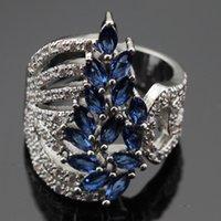 Wholesale Ashley Free - Fashion Jewelry Sets Ashley 2PCS Blue Stones White CZ Silver Color Bracelet Rings Jewelry Sets For Women Free Gift Box