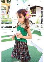 Wholesale Korean Casual Beach Dresses - New Baby Dress girl casual dresses 2017 Floral Ruffle Spaghetti Strap Summer Kids Dress Korean Splicing Children Beach Dress C552