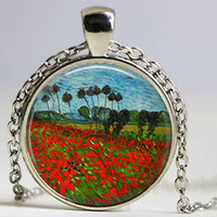 Wholesale Field Poppies - Van Gogh poppy field necklace , gogh poppies farm necklace , Van poppy flower pendant, Van Gogh jewelry, vintage