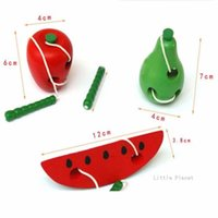 as pic Digital as pic Wholesale- 3 Style Wooden Toy String Line Wearing Rope Toy Large Apple Fruit Eating Insects Montessori Teaching Aids Wooden Puzzle Toys