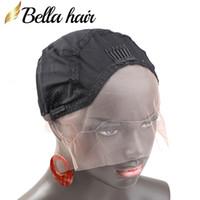 medya insan toptan satış-İnsan Saç Dantel Peruk Yapmak için peruk Caps Taraklar Ile Nefes Yumuşak Cilt Kapaklar SIYAH renk Orta Bellahair