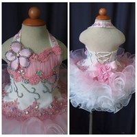 Wholesale National Glitz Dresses - Halter 2018 Lace Toddler Pageant Cupcake Dress Baby Girls Short National Glitz Tutu Formal Wear Cupcake Dresses Infant Birthday Party Gowns