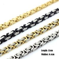 Wholesale Gold Plated Byzantine Necklace - Wholesale! Mens Byzantine Box Link Chain Necklace For Men Fashion 316L Stainless Steel Jewlery 55cm*0.4cm
